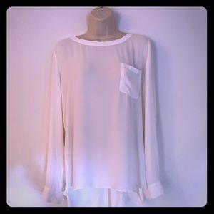 Ann Taylor LOFT white blouse with pocket sz L